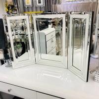 Atlanta White Mirrored Tri fold Mirror in stock