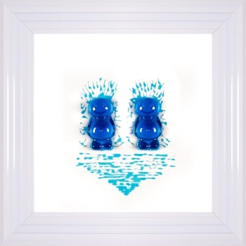 3D colourful Jelly Babies Male Couple wall art on a White background in choice of frames