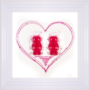 3D colourful Jelly Babies Female Couple wall art on a White background in choice of frames