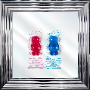 3D colourful Jelly Babies Couple wall art on a Mirror background in choice of frames