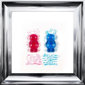 3D colourful Jelly Babies Couple wall art on a white background in choice of frames
