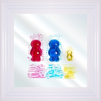 3D colourful Jelly Babies Family of 3 wall art on a Mirror background in choice of frames