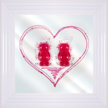 3D colourful Jelly Babies Female Couple wall art on a Mirror background in choice of frames