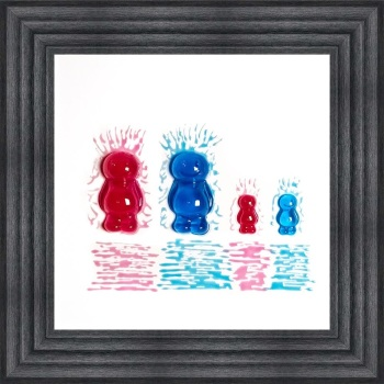 3D colourful Jelly Babies Family of 4 wall art on a White background in choice of frames