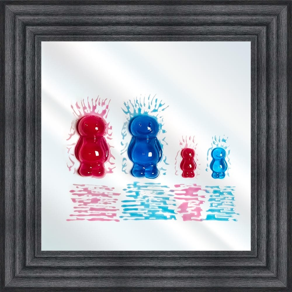 Jake Johnson 3D colourful Jelly Babies Family of 4 wall art on a Mirror bac
