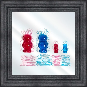 3D colourful Jelly Babies Family of 4 wall art on a Mirror background in choice of frames
