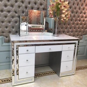 *Atlanta White & Mirrored 7 Draw Dressing Table with Tri Fold mirror - was £799 now only £509.99 incredible price IN STOCK