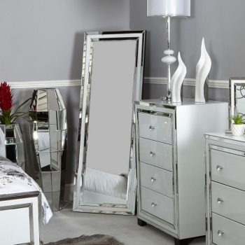 Atlanta  White Mirrored Cheval Mirror