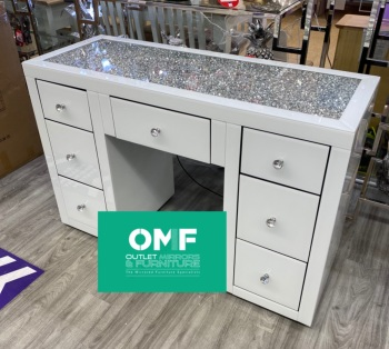 * Monica Diamond Crush Mirrored White 7 Draw Dressing Table with a Diamond Crush Top & Tri Fold Mirror - IN STOCK