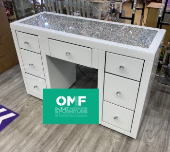 * Monica Diamond Crush Mirrored White 7 Draw Dressing Table with a Diamond Crush Top IN STOCK