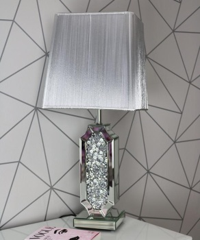 *Diamond Crush Crystal Shaped Mirrored Table Lamp White or silver Grey shade in stock