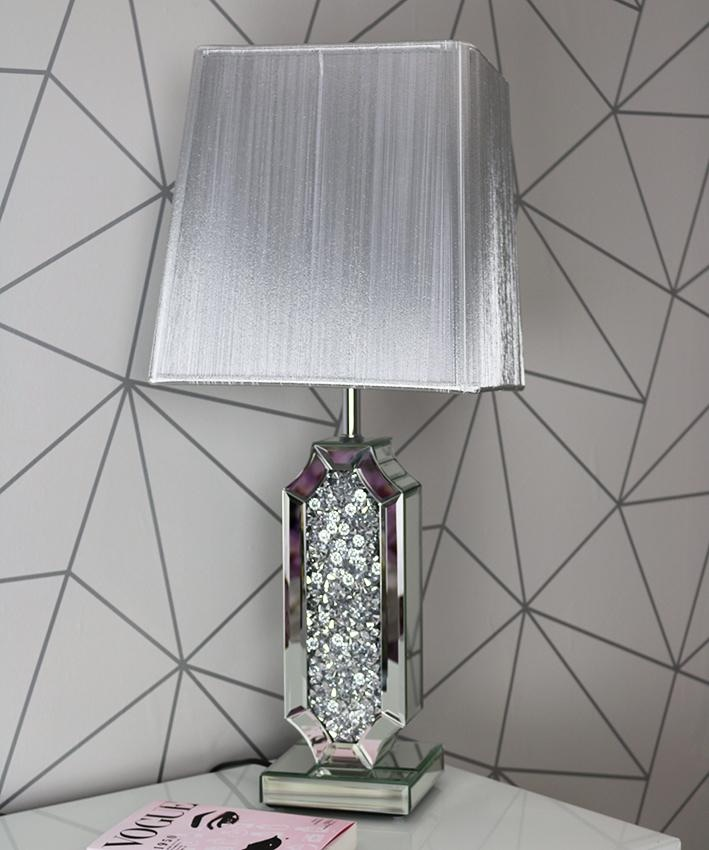 *Diamond Crush Crystal Shaped Mirrored Table Lamp White or silver Grey shad