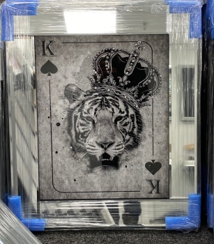 Mirror framed  Playing Card Art Wall Art  King of Spades Tiger  in a mirror frame