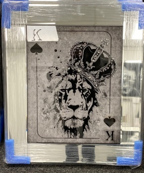 Playing Card Art Wall Art  King of Spades Lion toppled Crown  in a mirror frame