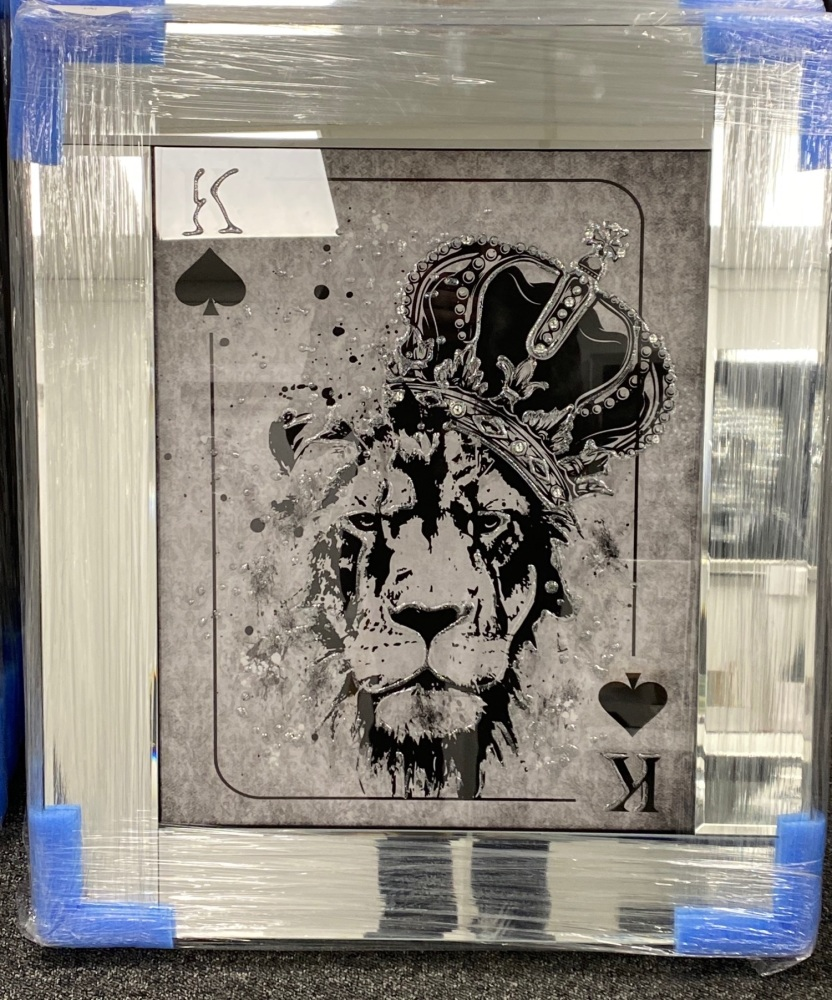 Playing Card Art Wall Art  King of Spades Lion toppled Crown  in a mirror