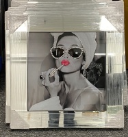 "Mirror framed ""Glamour Lady"" Wall Art in stock for a quick delivery"