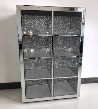* Diamond Crush Crystal Mirrored double Shelf Display Unit with Crystal Panels