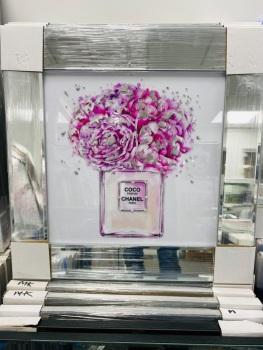 "Mirror Framed Sparkle Glitter Art "" Chanel Coco perfume Paris""  In stock"