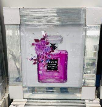 "Mirror Framed Sparkle Glitter Art "" Chanel Coco Perfume""  In stock"