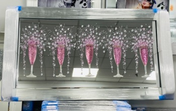 3D Champagne flutes Pink wall art on a Mirror background in a mirror frame  in stock