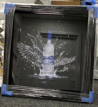** Grey Goose  Glitter Art Mirrored Frame ** Black frame or mirror frame 87cm x 87cm large