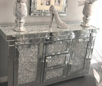 *Diamond Crush Sparkle Crystal Mirrored 3 draw 2 Door Sideboard special offer price - in stock