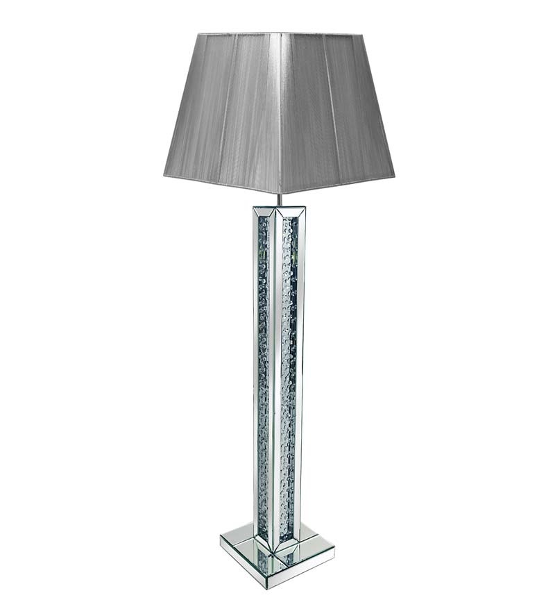 Floor Lit Floating Crystals Mirrored Tall Lamp 30.5cm x 142cm