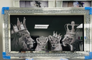 Lion, Queen Lioness & Cubs Family  in a Diamond crush mirrored framed 114cm x 64cm