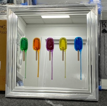 Jake Johnson 3D colourful Ice Lollies  wall art on a Mirror background in a Chrome stepped frame in stock