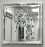 Jake Johnson Champagne Flutes wall art on a Silver mirror and silver  chrome frame in stock