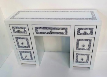 * Diamond Crush Mirrored  White 7 Draw Dressing Table