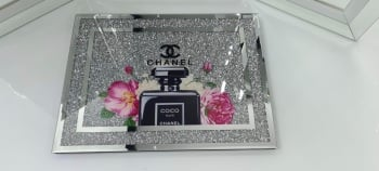 """ New Diamond Crush Chopping Board Coco Chanel Noir"