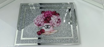 """ New Diamond Crush Chopping Board Coco Chanel Flowers"