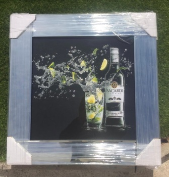 ** Bacardi Glitter Art Mirrored Frame ** 55cm x 55cm  in stock for a quick delivery