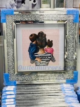 """ Great Mum Brunette "" Wall Art in a diamond crush frame"