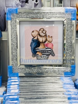 """ Great Mum Blonde "" Wall Art in a diamond crush frame in stock"