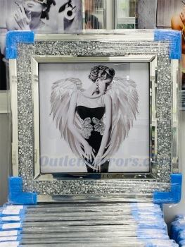 """"""" Feather Angel Lady """" Wall Art in a diamond crush frame"""