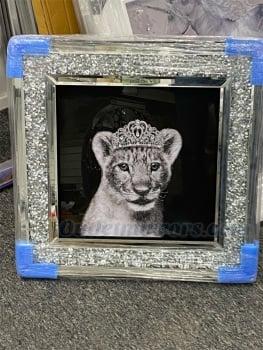""" Lioness Cub "" Wall Art in a diamond crush frame"