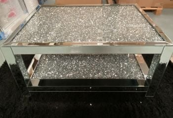 * New Diamond Crush Sparkle Crystal Mirrored Rectangular Coffee Table Special Offer