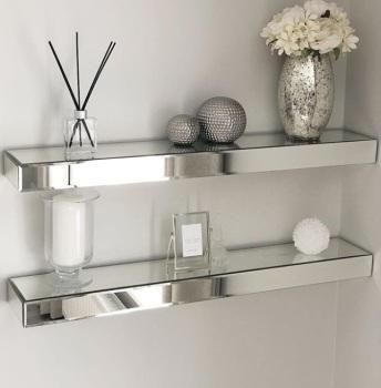 *Pair of Mirrored Shelves 60cm medium