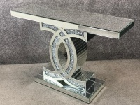 "*Diamond Crush crystal Sparkle ""CC"" Console Table 90cm  in stock"