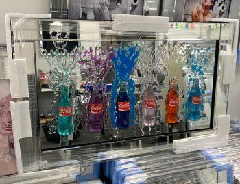 3d Coke colourful Bottles Art in a Silver mirror Frame 100cm x 60cm
