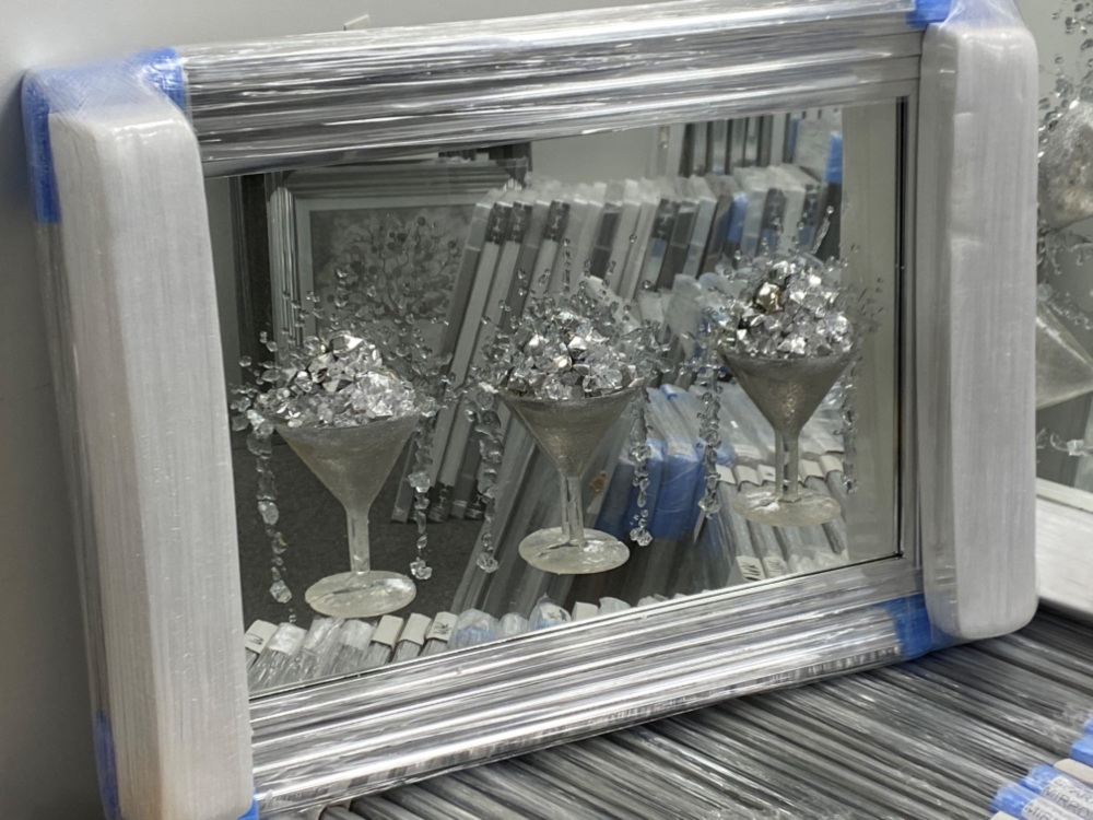 3D Martini 3 cup silver wall art on a Silver mirror backing In a silver Fra