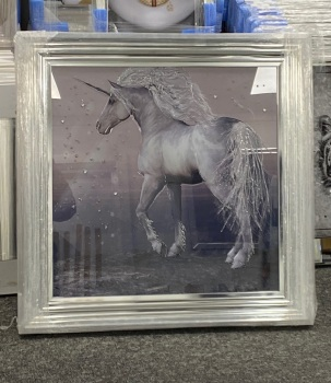 """Mirror framed """"colourful Unicorn"""" Wall Art  in stock for a quick delivery"""