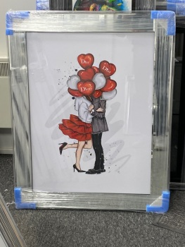 """"""" Dior Balloon's Happy Couple """" Wall Art in a Mirrorframe in stock 95cm x 75cm"""