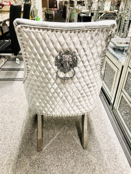 Majestic Lion Back Dining Chair Quilted Stitch Back Design in Silver with Chrome Leg
