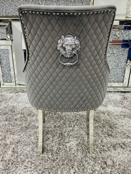 Majestic Lion Back Dining Chair Quilted Stitch Back Design in light Grey with Chrome Leg