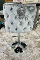 Valentino Lion Knocker Back Stool Quilted Stitch seat and Buttoned Back Design in Silver  with Chrome Leg