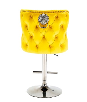 Valentino Lion Knocker Back Stool Quilted Stitch seat and Buttoned Back Design  in Mustard Yellow  with Chrome Leg