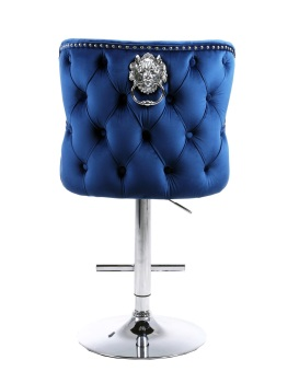 Valentino Lion Knocker Back Stool Quilted Stitch seat and Buttoned Back Design  in Royal Blue  with Chrome Leg